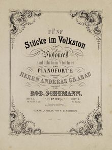 Partition de piano, Fünf Stücke im Volkston, Op.102, Fünf Stücke im Volkston5 Pieces in Folk styleFive Pieces in Popular FormCinq Pieces en ton populaire