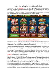 Learn How to Play Slot Games Online for Free