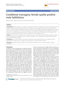 Conditional monogyny: female quality predicts male faithfulness