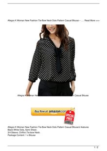 Helpful Allegra K Woman New Fashion TieBow Neck Dots Pattern Casual Blouse Clothing Review