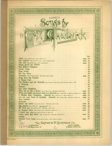 Partition Cover Page (color), 6 chansons, Chadwick, George Whitefield