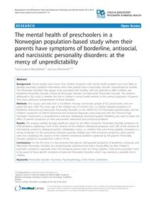 The mental health of preschoolers in a Norwegian population-based study when their parents have symptoms of borderline, antisocial, and narcissistic personality disorders: at the mercy of unpredictability