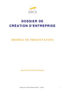Creation D Entreprise Modele De Presentation Apce Creation D Ent
