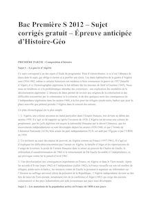 Bac Premiere 2012 S Histoire Geographie Corrige
