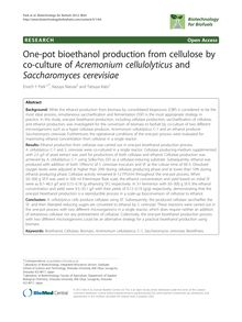 One-pot bioethanol production from cellulose by co-culture of Acremonium cellulolyticus and Saccharomyces cerevisiae