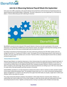 Join Us in Observing National Payroll Week this September