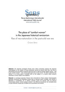 "The place of ""comfort women"" in the Japanese historical revisionism Rise of neo-nationalism in the post-cold war era"