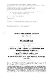 Transactions of the American Society of Civil Engineers, vol. LXVIII, Sept. 1910 - The New York Tunnel Extension of the Pennsylvania Railroad. - The East River Tunnels. Paper No. 1159