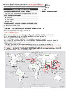 Évaluation corrigée : où sont les Hommes sur la terre ? - géographie 6eme