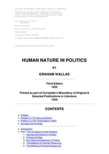 Human Nature in Politics - Third Edition