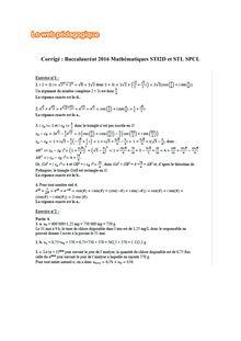 Baccalauréat Mathématiques 2016 - Série STI2D et SPCL
