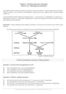 Exercice sur Génétique et évolution - SVT Terminale