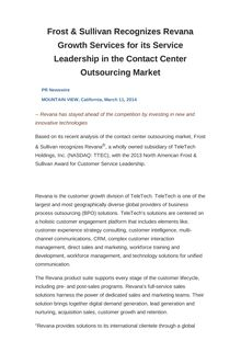 Frost & Sullivan Recognizes Revana Growth Services for its Service Leadership in the Contact Center Outsourcing Market