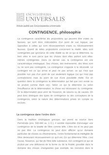 Définition de : CONTINGENCE, philosophie - Hubert FAES