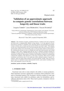 Validation of an approximate approach to compute genetic correlations between longevity and linear traits