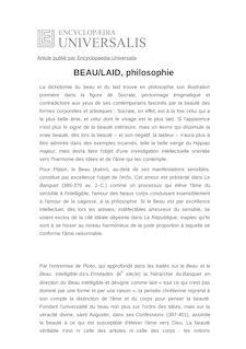 Définition de : BEAU/LAID, philosophie - Olivier TINLAND