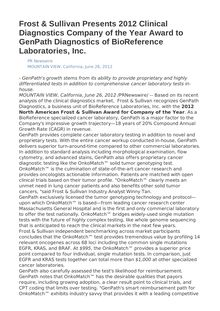 Frost & Sullivan Presents 2012 Clinical Diagnostics Company of the Year Award to GenPath Diagnostics of BioReference Laboratories, Inc.