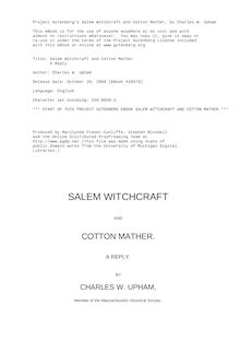 Salem Witchcraft and Cotton Mather - A Reply