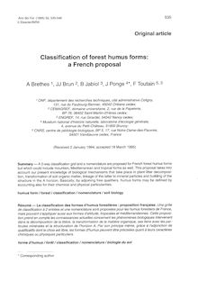 Classification of forest humus forms: a French proposal