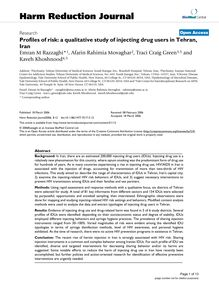 Profiles of risk: a qualitative study of injecting drug users in Tehran, Iran