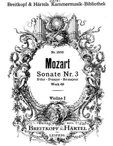Partition violons I, église Sonata No.3, D major, Mozart, Wolfgang Amadeus