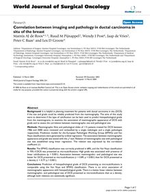 Correlation between imaging and pathology in ductal carcinoma in situ of the breast