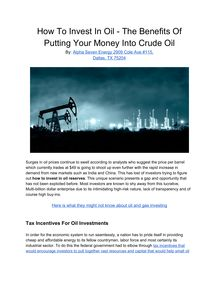 How To Invest In Oil - The Benefits Of Putting Your Money Into Crude Oil