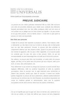 Définition de : PREUVE JUDICIAIRE - Catherine PUIGELIER