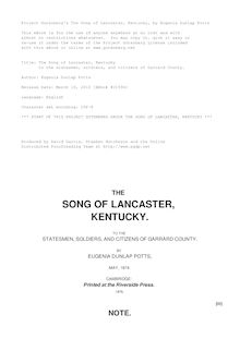 The Song of Lancaster, Kentucky - to the statesmen, soldiers, and citizens of Garrard County.