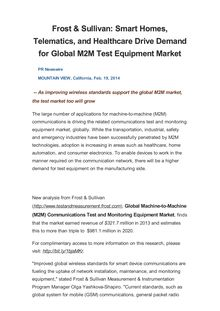 Frost & Sullivan: Smart Homes, Telematics, and Healthcare Drive Demand for Global M2M Test Equipment Market