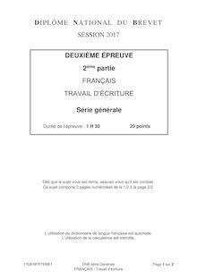 Brevet 2017 le sujet de francais : écriture