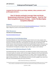 Social Bookmarking Tutorial - Jumpstart the Free Traffic to your blogs, websites, videos, podcasts, social