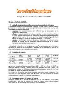 Baccalauréat Mercatique 2016 - Série STMG (Corrigé)
