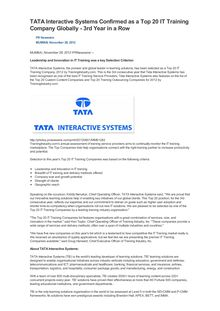 TATA Interactive Systems Confirmed as a Top 20 IT Training Company Globally - 3rd Year in a Row