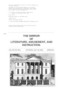 The Mirror of Literature, Amusement, and Instruction - Volume 14, No. 381, July 18, 1829
