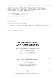 Prime Ministers and Some Others - A Book of Reminiscences