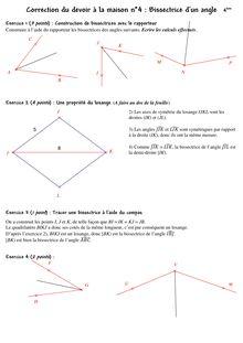 Exercice + corrigé sur les bissectrices - 4ème