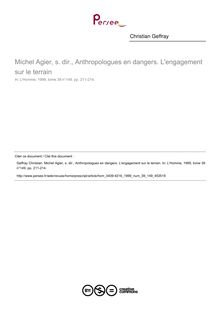 Michel Agier, s. dir., Anthropologues en dangers. L