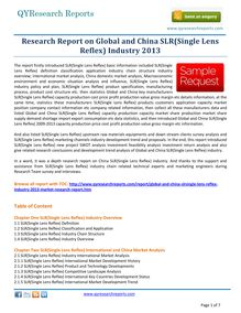 Worldwide Research on Global and China SLR(Single Lens Reflex) Industry 2013 by qyresearchreports.com