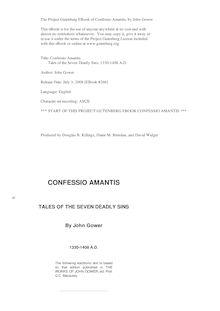 Confessio Amantis, or, Tales of the Seven Deadly Sins