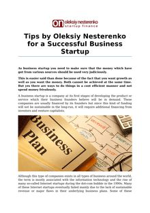 Tips by Oleksiy Nesterenko for a Successful Business Startup