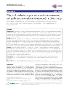 Effect of malaria on placental volume measured using three-dimensional ultrasound: a pilot study