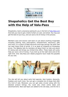 Shopaholics Get the Best Buy With The Help Of Valu-Pass