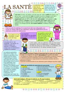 Fiche de vocabulaire sur la santé