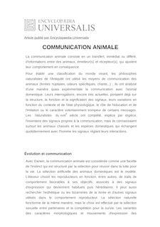 Définition de : COMMUNICATION ANIMALE - Raymond CAMPAN