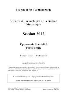 Bac 2012 STG Mercatique