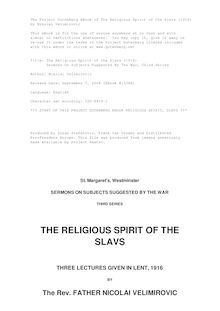 The Religious Spirit of the Slavs (1916) - Sermons On Subjects Suggested By The War, Third Series