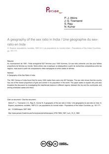 A geography of the sex ratio in India / Une géographie du sex-ratio en Inde - article ; n°2 ; vol.15, pg 161-171