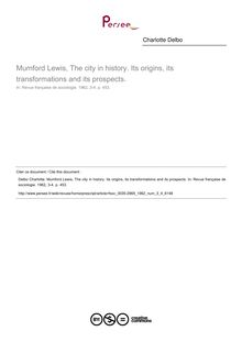 Mumford Lewis, The city in history. Its origins, its transformations and its prospects.  ; n°4 ; vol.3, pg 453-453