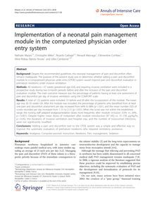 Implementation of a neonatal pain management module in the computerized physician order entry system